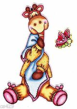 "4"" BAZOOPLES JUNGLE BABIES GIRAFFE BUTTERFLY ANIMAL FABRIC APPLIQUE IRON ON"