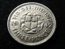 1942 GEORGE VI .500 SILVER THREEPENCE 3-D COIN SCARCE DATE GOOD CONDITION