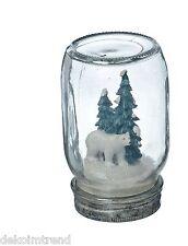 Glas Dekoglas  Weihnachten Winter Kunstschnee Deko Kunstharz Eisbär