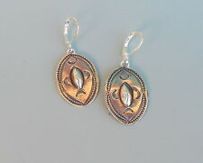 Vintage Silver Stamped Repousse Dangle Pierced Old Concho Earrings