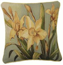 """DAFFODIL FLORAL FLOWER GOLD TAPESTRY PIPED COTTON BLEND CUSHION COVER 18"""" 45CM"""