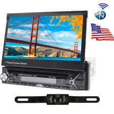 "Single 1 DIN 7"" HD GPS NAV Car Stereo CD DVD MP3 Player Radio +Camera Bluetooth"