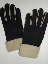 Fownes Faux Shearling Cuffed Genuine Leather Gloves,Black, Large