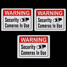 3 METAL Home Security Surveillance Video Cameras In Use Warning Fence Signs