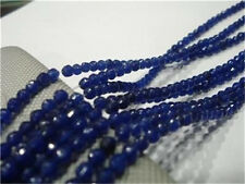 Natural 4mm Faceted Blue Sapphire Gemstone Loose Beads 15""