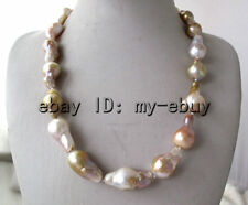 Pink Purple Brown Keshi Keishi Baroque FW Pearl Necklace Silver C.Z Clasp 20""