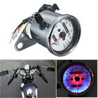 Universal Motorcycle Dual Odometer Speedometer Gauge LED Backlight Signal KMH