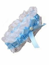 White Lace Garter Blue Ribbon Bow Pearl Bead Bridal Hen Nights Weddings 4905