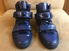GIACOMORELLI BLUE PATENT LEATHER STRAP STUDDED HIGH TOP SNEAKERS SHOES 10 43