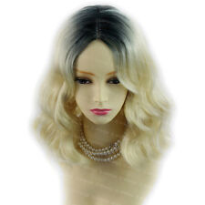 Amazing Bionda & Nero Marrone Media Ondulate LADY Parrucche Dip-Dye Ombre Capelli Wiwigs UK