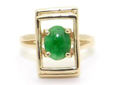 Vintage 14k Yellow Gold Oval Green Jade Cocktail Solitaire Band Ring Size 6