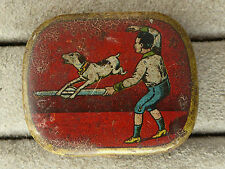 Gramophone needles tin, dog trick; jumping over a needle.