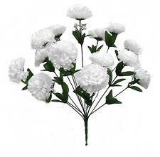 14 Carnations ~ WHITE ~ Long Stems Silk Wedding Flowers Bouquets Centerpieces