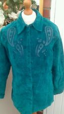 AMAZING VINTAGE WESTERN TEAL SUEDE 70S STYLE JACKET SIZE 12