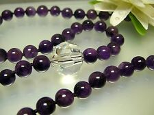 "36"" nature 9.5 -10 mm Amethyst w/ big faceted bead crystal handmade necklace"
