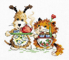 Cross Stitch Kit Fife o'clock (dog and cat)