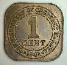 1941 Bronze Malaysia 1 One Cent British UK Coin YG