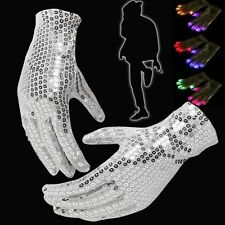 Sequin Flashing LED Gloves Glow Cyber Rave Party Dance 7 Mode Light Up Finger