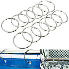12x Round Circular Stainless Steel Shower Curtain Hooks Rings Anti Rust Bathroom