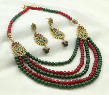 Traditional Indian Wedding Pearl Beaded Strand Necklace Set Bollywood Jewelry