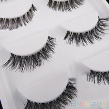 5 Pairs Lot Black Cross False Eyelash Soft Long Makeup Eye Lash Extension