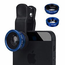 UNIVERSALE HQ Blu 3 in 1 Fish Eye Wide Angle Macro Lens Clip Kit Per iPhone iPad