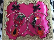 Betsey Johnson Rio Toucan Cherry Papaya Tropical Fruit Lucite Hoop Earrings RARE