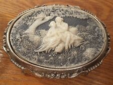 Silver Plated Jewelry Box W/Incolay Stone Blue & White Victorian Courting Scene