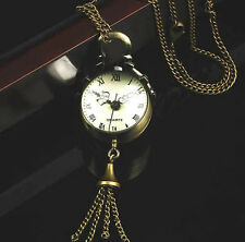 Vintage Bronze Quartz Ball Glass Pocket Watch Necklace Chain Steampunk