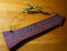 FISHING HOLE ARROW Fisherman Cabin Primitive Style Lodge Home Decor Sign NEW