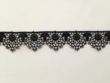 MOROCCAN LACE TRIM BLACK RIBBON TAPE DRESSMAKING CRAFT SCALLOPED FLORAL
