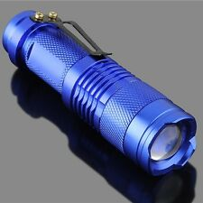 Blue Portable Mini CREE Q5 Zoomable 1200 Lumen LED Flashlight Torch Lamp AA 66