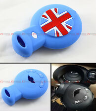 BLUE UNION JACK SILICONE PROTECTIVE CASE COVER FOR MINI COOPER SMART CAR KEY FOB