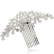 Silver Tone Wedding Bride Floral Hair Comb w/ Clear Swarovski Crystals FA2944FS