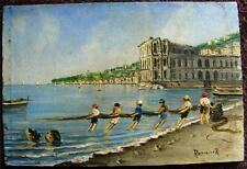 Italy Bay of Naples Palazzo Donn'Anna oil on board figures fishing signed
