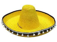 YELLOW SOMBRERO HAT W TASSELS dress up fiesta party hats costume mexico caps