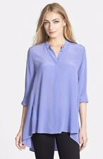 M EILEEN FISHER Plume Purple Silk Crepe de Chine Mandarin Collar Tunic Shirt Top