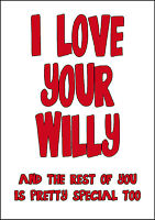 Personalised Funny Rude Willy Valentine Card Large A5