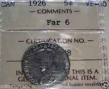 FAr 6  1926 Canada 5 Cents  ICCS Certified Scarce FAR 6