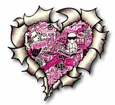 Ripped Torn Metal Look HEART With PINK JDM Style Stickerbomb vinyl car sticker