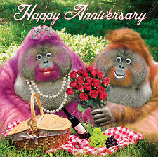 """Happy Anniversary"" Greeting Card  Funny Cute Orangutans Goggly 3D Moving Eyes"