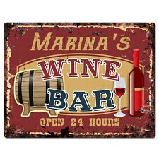 PWWB0501 MARINA'S WINE BAR OPEN 24Hr Rustic Tin Chic Sign Home Decor Gift
