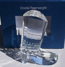 OLEG CASSINI CRYSTAL COWBOY BOOT PAPERWEIGHT. 4 INCHES. NEW IN BOX.