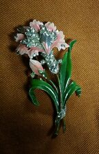 Crown Trifari Enamel Rhinestone Flower  Bouquet Brooch Pin ( Rare)
