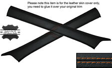 ORANGE STITCH 2X A POST PILLAR SKIN COVERS FITS MERCEDES W124 E CLASS 83-95