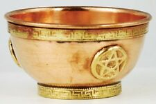 "3"" Copper and Brass Offering Bowl with Pentagram  ~ Herb Altar Wicca Pagan"