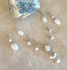 White Opal  Alpaca Silver necklace and earrings set