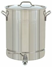 8 Gallon Pot With Spigot Vented Lid Stockpot Stainless Steel Brewer Boiler Steam