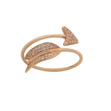 WIDE 14K ROSE GOLD PAVE DIAMOND BOW ARROW WRAP COCKTAIL BAND RING