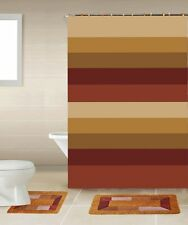 Sylvia Burgundy Brown 15-Piece Bathroom Accessory Set 2 Bath Mats Shower Curtain